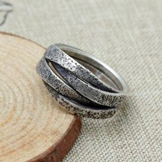 Women's Sterling Silver Handmade Distressed Wrap Ring