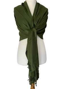 66537c3a9 Large dark green coloured Fair Trade pashmina wrap / scarf, excellent  quality hand woven plain