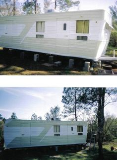 Pinner said: 1956 Hicks Vintage Mobile Home; this is the trailer my son restored lived in when going to college.he still owns it. Double Wide Trailer, Rv Homes, Remodeled Campers, Vintage Trailers, Mobile Homes, Tiny Houses, Kitsch, Recreational Vehicles, Small Spaces