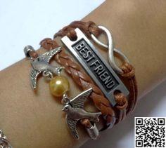 Golden pearl bird bracelets the best friendship by Carlydiy, $5.99