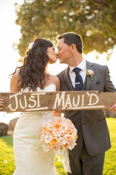 Adorable Maui wedding sign: http://www.stylemepretty.com/destination-weddings/2014/10/20/maui-wedding-at-olowalu-plantation-house/   Photography: Kaua Weddings - http://kauaweddingphotography.com/