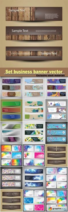 Set business banner vector