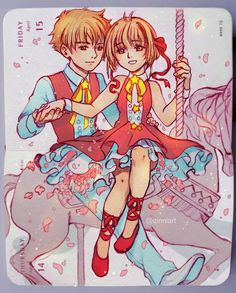 """Catch you Catch me  ~ Syaoran X Sakura = first otp of my life  Welp, I'm never doing something this detailed ever again for these """"dailies"""". Or two people. My son and daughter tho huehuehue, so no regrets...well, not too much lol. It's 1am and my back hurts like hell"""
