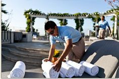 """Did you know that hotel guests often use The Peninsula's chic pool cabanas for work as well as play? Equipped with Wi-Fi, flat-screen televisions, telephones and fax machines, the pool cabanas can double as a """"California-style"""" office."""