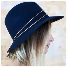 Blue Hat with gold detail is pretty for Fall/Winter. Friday Favorites / Two Plus Luna