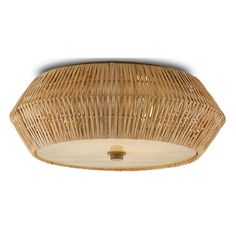 Meticulously woven using traditional techniques, this flush mount is an extraordinary combination of artistry and construction. Natural rattan forms the exterior of the geometric cage, which is fitted with an art glass diffuser. 70s Decor, Semi Flush Lighting, Glass Diffuser, Antibes, Venetian Glass, Bedroom Lighting, House Lighting, Hand Blown Glass, Polished Nickel