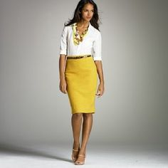 Mustard skirt outfit