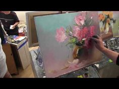 Paint bouquet of flowers easy way Painting techniques of oil paints. Painting tutorial for beginners - YouTube