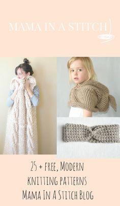 Free Modern Easy Knitting Patterns #mamainastitch #freepattern #knitting