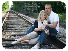 Doing the railroad tracks for our engagement pictures