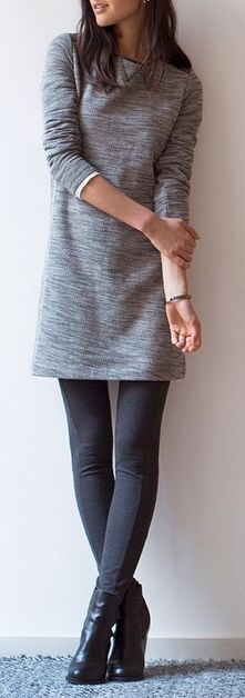 #winter #outfits / Grey Long Sleeve Dress - Black Leather Ankle Booties