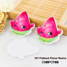 50pcs/lot Cartoon Watermelon Resin Flatback DIY Craft Embellishments Kawaii Planar Resin for Home Decoration Accessories DL-479