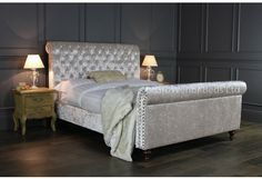 GB98-5 King Size Beige Crushed Velvet Upholstered Chesterfield Bed | Grosvenor Beds Ltd