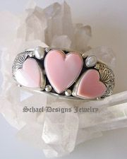 David Troutman Jewelry | Pink conch shell, white freshwater pearls, & sterling silver hearts cuff bracelet | upscale online turquoise, southwestern, native american, equine, & gemstone jewelry gallery boutique| Schaef Designs artisan handcrafted Jewelry | San Diego CA