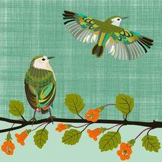 Thinking of You - Titipounamu by Jane Galloway. Wall Art print from The Little Art Gallery, Tairua, Coromandel, NZ Bird Prints, Wall Art Prints, Folk Fashion, Contemporary Artwork, New Zealand, Thinking Of You, Original Artwork, Art Gallery, Birds