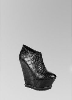 JAFFERBELL Black Python Leather Wedge Ankle Boots - Shoes & Heels