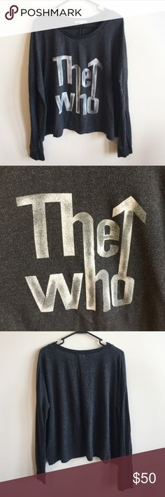 "Junk Food The Who Sweater Pre-Owned; good condition. Very soft and cozy ""The Who"" sweater by Junk Food Clothing. Size Medium. 48% Rayon, 47% Polyester, 5% Spandex. Junk Food Clothing Sweaters"
