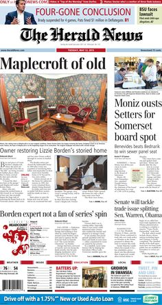 The front page of The Herald News for Tuesday, May 12, 2015. #fallriver #somerset