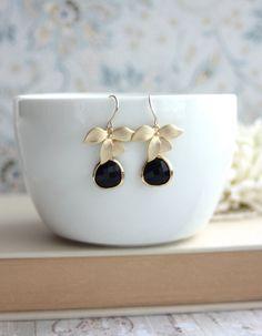 Black Glass Stones Gold Orchid Flower Earrings. Jet by Marolsha