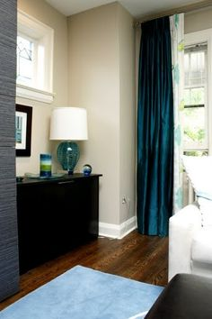 Dark Turquoise Curtains Paired W A Print