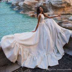 Eightree Romantic Ruffles Wedding Dress 2020 O-Neck Satin Sleeveless A-Line Brid. Eightree Romantic Ruffles Wedding Dress 2020 O-Neck Satin Sleeveless A-Line Bride Dresses Princess robe de mariee Weddin. Hijabs, Bridal Gowns, Wedding Gowns, Dubai Wedding, Kaftan, Abaya Designs, Henna Designs, Dubai Fashion, Princess Wedding