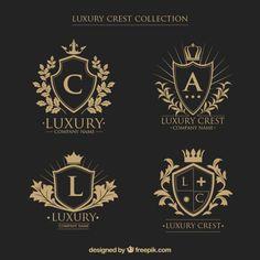 coleção Logos de cristas com as iniciais no estilo do vintage Vetor grátis