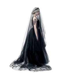 Super Long 5M 1 Tier Black Tulle Cut Edge Wedding Bridal Cathedral Veil Halloween Outfits, Halloween Costumes, Women Halloween, Aesthetic Vintage, Vintage Halloween, Headpiece, Fashion Brands, Cathedral, Tulle