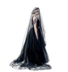 Super Long 5M 1 Tier Black Tulle Cut Edge Wedding Bridal Cathedral Veil Halloween Costume Accessories, Halloween Costumes, Women Halloween, Headpiece, Cathedral, Tulle, Hair Accessories, Merman, Bridal