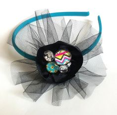 Girl's Headband with Black Ribbon and Tulle Flower  with Multicolored Beads and Rhinestones. $12.00, via Etsy.