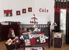 Sweet Jojo Designs Wild West Cowboy baby bedding ensemble will help your little boy kick up his heels and drift off to dreamland like a real cowboy. This striking baby bedding set uses a collection of exclusive Sweet Jojo Designs Prints. Western Baby Bedding, Baby Boy Crib Bedding, Western Babies, Baby Boy Cribs, Baby Bedding Sets, Crib Sets, Baby Boy Rooms, Nursery Bedding, Western Crib