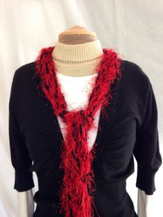 SALE Posh Red and Black Scarf Crocheted Fluffy Scarf by KaysKnit