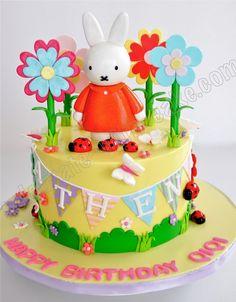 Celebrate with Cake! Little Girl Birthday Cakes, Birthday Name, Miffy Cake, Garden Cakes, Funny Cake, Cute Cakes, Themed Cakes, First Birthdays, Bunny