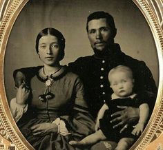 cdv family soldier baby woman tassels on her collar.