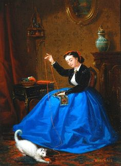 stilllifequickheart:    J. B. Marchais  Girl in a Blue Skirt Sewing  19th century
