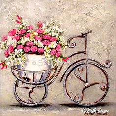 Art by Stella Bruwer Decoupage Vintage, Decoupage Paper, Vintage Cards, Vintage Paper, Vintage Pictures, Vintage Images, Bicycle Decor, Flower Phone Wallpaper, Bicycle Print
