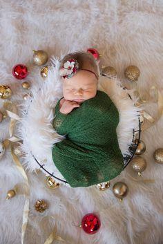 Limited Edition Red Green and Cream Christmas Baby Flower Headband, Newborn Headband, Baby Girl Flower Headband, Photography Prop