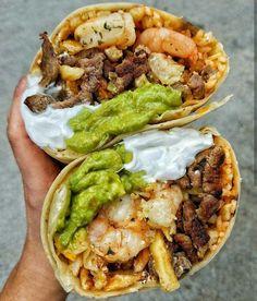 California Burrito: Carne Asada Steak, Sauteed Shrimp, Crispy French Fries, Guacamole, Sour Cream and Spanish Rice I Love Food, Good Food, Yummy Food, Tasty, Yummy Lunch, California Burrito, Food Goals, Sour Cream, Aesthetic Food