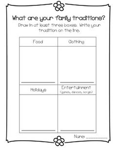 Family Traditions Printable. For Tigers Family Stories Adventure.