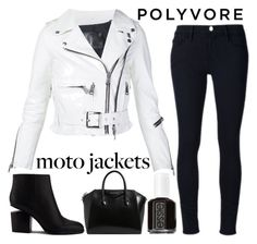 """""""polyvore: moto jackets"""" by j-n-a ❤ liked on Polyvore featuring Essie, R13, Frame Denim, Alexander Wang and Givenchy"""