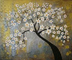 ORIGINAL Heavy Textured Impasto Floral  Painting by ModernArtForYou on Etsy, $169.00