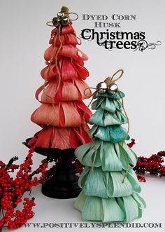 Dyed Corn Husk Christmas Trees