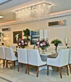 Dinner Room, Dining Bench, Chandelier, House Design, Ceiling Lights, Table, Furniture, Home Decor, Night Lamps