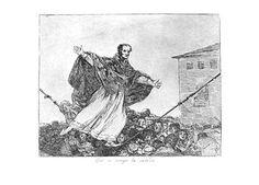 """""""Que se rompe la cuerda"""" (Desastre nº77 de Goya. Representa al Papa haciendo equilibrios delante de una muchedumbre, representando la situación de la Iglesia ante las reformas democráticas en Europa"""