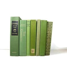Vintage Green Decorative Books  Photo Props