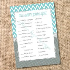 Printable Celebrity Baby Match Game Teal and Gray Chevron Printable Baby Shower Game Aqua & Grey Che Deer Baby Showers, Grey Baby Shower, Unique Baby Shower, Baby Shower Games, Celebrity Baby Pictures, Celebrity Baby Names, Celebrity Babies, Teal And Grey, Grey Chevron