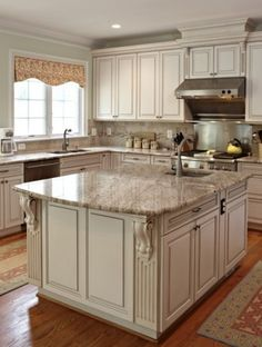 island and hood cabinetry details (fluting and moldings)