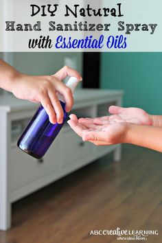 Creating your own Natural Hand Sanitizer Spray with Essential Oils is so easy to make and only takes a few minutes. Create your own natural chemical free version safe for your children and family. - abccreativelearning.com