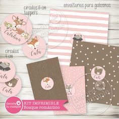 Kit imprimible personalizado animales del bosque romántico Baby Event, Baby Shawer, Ideas Para Fiestas, 1st Birthday Girls, Woodland Party, Woodland Animals, Event Decor, Whimsical, Gift Wrapping