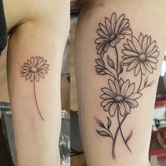 beautiful daisy flower tattoo – designs & meaning – tattoo ideas - Famous Last Words Small Daisy Tattoo, Daisy Flower Tattoos, Flower Tattoo Foot, Sunflower Tattoo Small, Foot Tattoos, Arm Tattoo, Body Art Tattoos, Small Tattoos, Sleeve Tattoos
