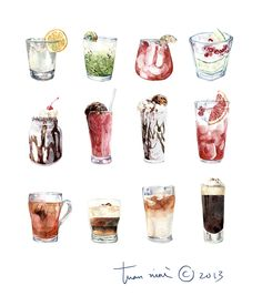by Tuan Nini Drink Illustration Watercolor Food, Watercolor Illustration, Watercolor Paintings, Desserts Drawing, Food Sketch, Art Vintage, Food Painting, Food Drawing, Food Illustrations